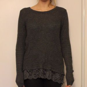 Long grey knit sweater with lace trim